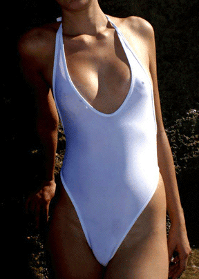 One piece thong sheer when wet.